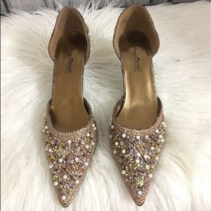 "Shoes - Anne Michelle Beaded pointy 2""inch heels"
